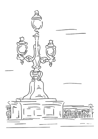 lamp post:  lantern - stylised engraving. Isolated over white