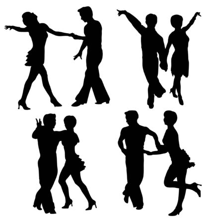 latina:   silhouettes dancing man and woman - isolated over white