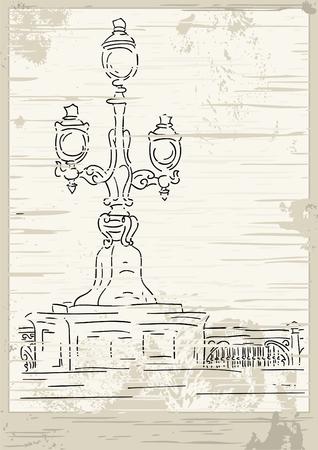 victorian lantern - stylised vintage card Vector