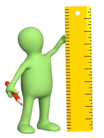 3d puppet with ruler - over white Stock Photo - 7933764