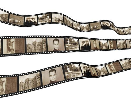 old movies: Memories - retro photo with filmstrip. Isolated over white Stock Photo