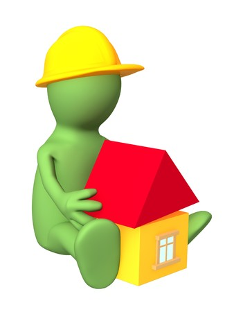 3d puppet - child building the toy house. Isolated over white photo
