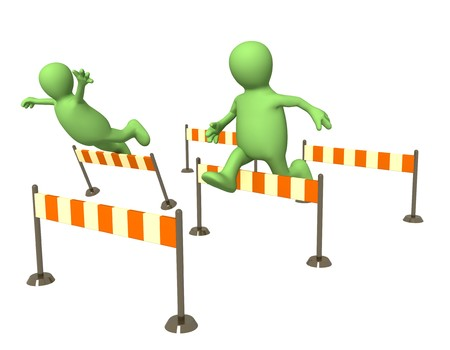 obstacle course: Two 3d puppets, jumping through a barriers