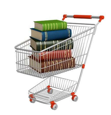 Buying of books. Objects isolated over white photo