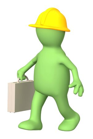 carpentry cartoon: Worker - puppet with a suitcase. Isolated over white