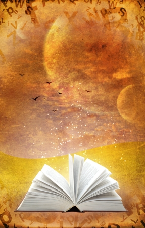 Fantasy world. Vertical grunge background with magic book photo