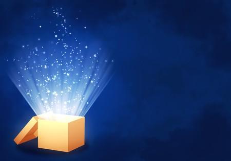 Horizontale achtergrond van de blauwe kleur met magische doos