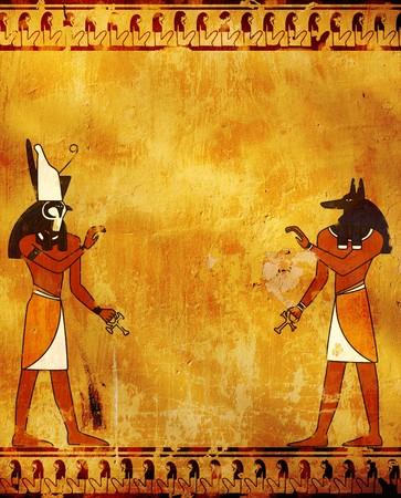 horus: Pared con im�genes de dioses egipcios - Anubis y Horus