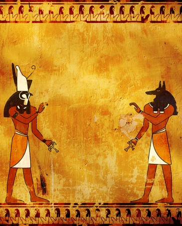 Wall with Egyptian gods images - Anubis and Horus photo