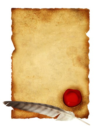 Scroll of parchment and feather. Isolated over white photo