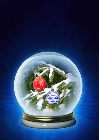 Vertical background - Christmas ornaments in magic crystal photo