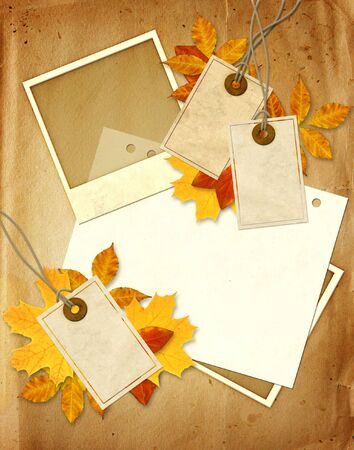 Grunge background with photo, labels and autumn leaves photo