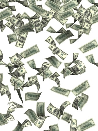 Symbol of wealth and success -  rain from dollars Stock Photo - 7995859