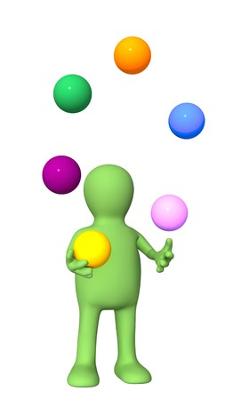 3d  puppet, juggling with color balls. Isolated over white photo