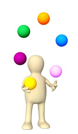 throwing: 3d  puppet, juggling with color balls. Isolated over white Stock Photo