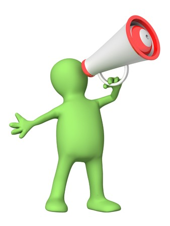public speaker: 3d person - puppet with megaphone. Isolated over white Stock Photo