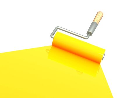 Platen painting with an yellow paint Stock Photo - 8031597