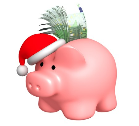 christmas debt: Money to Christmas. Object over white Stock Photo