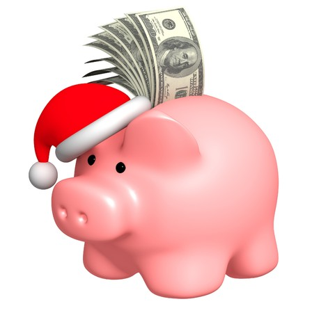 christmas savings: Money to Christmas. Object over white Stock Photo