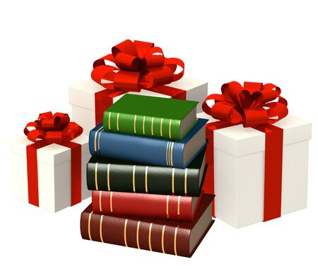 Books and gifts. Objects isolated over white photo