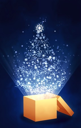 season opening: Christmas gift - vertical background with magic box