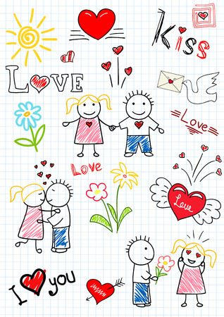 child couple:  drawings - romantic couple. Sketch on notebook page Illustration