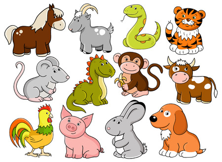 animals - symbols of chinese horoscope Vector