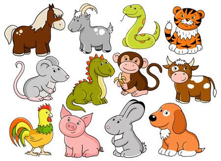 animals - symbols of chinese horoscope Stock Vector - 8031634