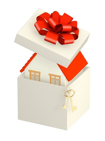 lease: House in gift packing. Isolated over white Stock Photo