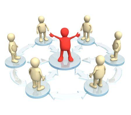 teamwork cartoon: Conceptual image - a position of the leader Stock Photo