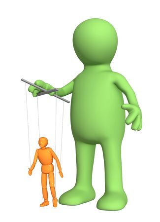 humility: 3d puppet, managing a small doll. Isolated over white Stock Photo