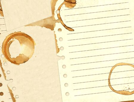 coffee stains: Background - stains of coffee on sheets of paper