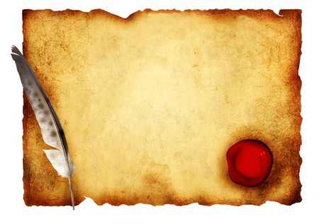 Old parchment with wax seal. Isolated over white photo
