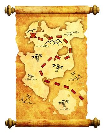 isla del tesoro: Mapa de pirata. Una forma de tesoro  Foto de archivo
