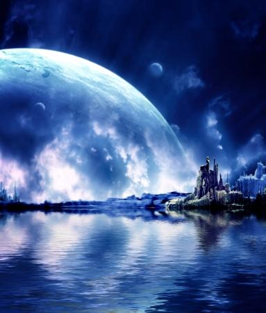 Collage - landschap in fantasy planeet Stockfoto