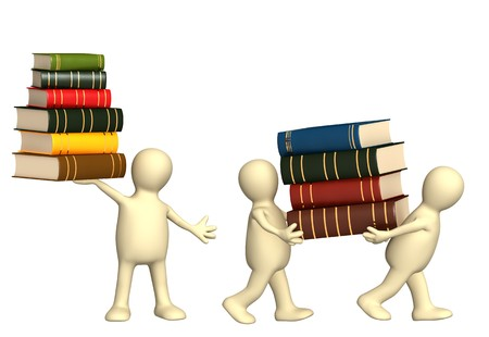 3d puppets with books - isolated over white photo