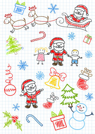 drawings - Santa Claus and children. Sketch on notebook page Vector