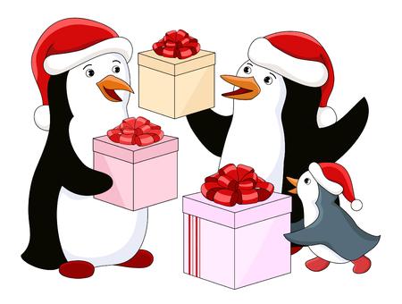 pinguino caricatura: Familia del ping�ino con regalos. Ilustraci�n vectorial