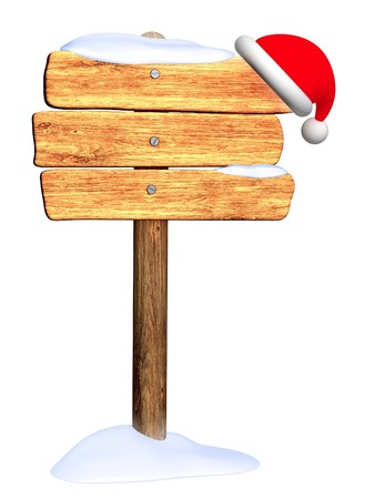 Wooden signboard with christmas hat. Object isolated over white photo