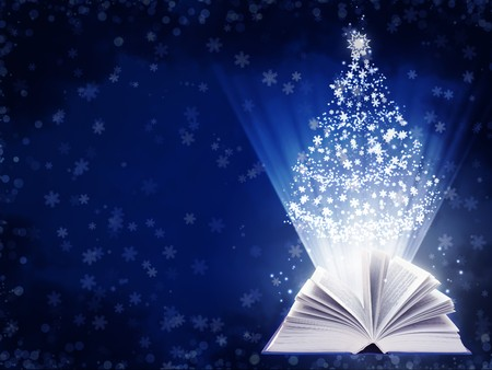 books new books: Christmas fairy-tale. Horizontal background with magic book