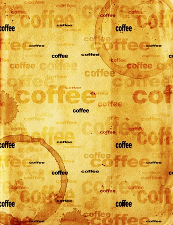 soiled: Texture - a sheet of the old, soiled paper with drops of coffee