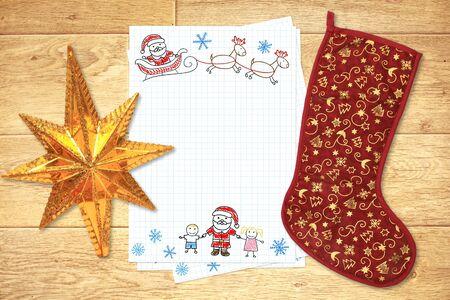 Letter to Santa Claus. Horizontal background photo