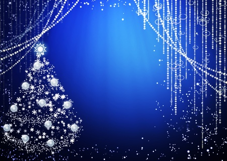 blue curtain: Blue background with Christmas tree Stock Photo