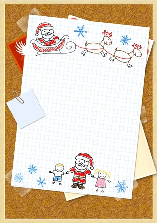 wish list: Letter to Santa Claus. Horizontal background Stock Photo