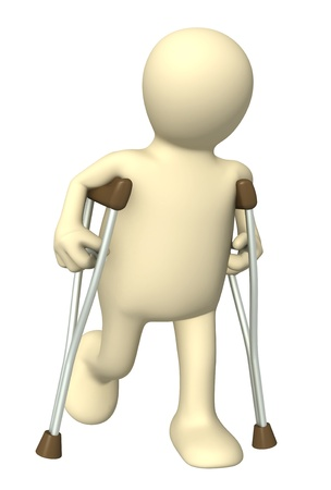 3d puppet with crutches. Isolated over white photo
