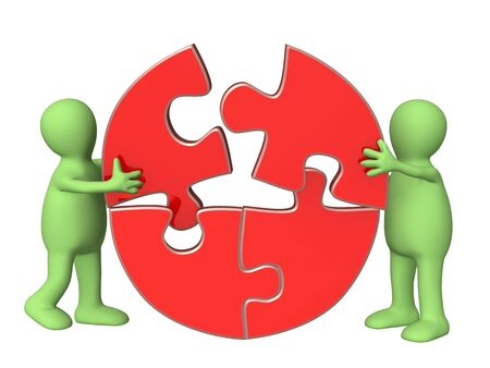 merger: Success of teamwork. Two puppets wiht puzzles