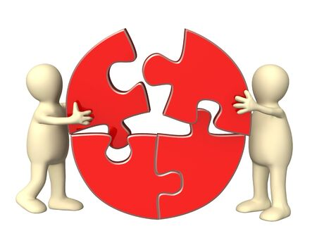 perplexing: Success of teamwork. Two puppets wiht puzzles