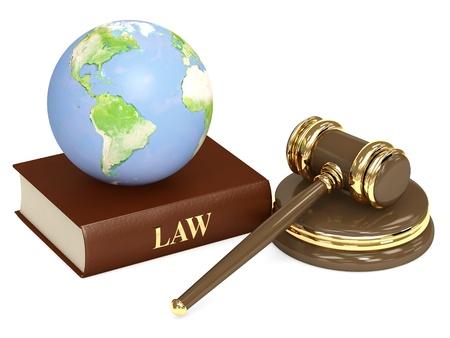 Justitiële 3d hamer en aarde. Objecten geïsoleerd over Wit