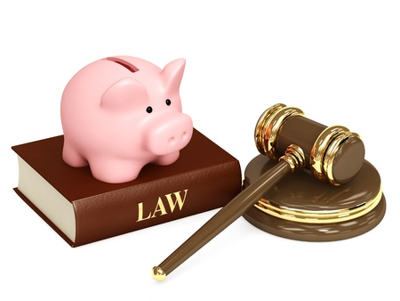 Judicial 3d gavel and piggy bank. Objects isolated over white photo
