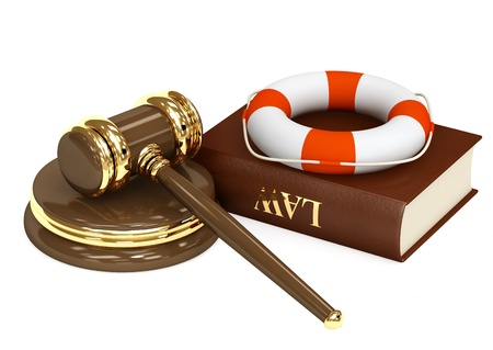 drowning: Legal aid. Hammer, book and lifebuoy Stock Photo